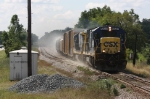 CSX Train A781-15 blows off the freshly loaded sand cars as it departs