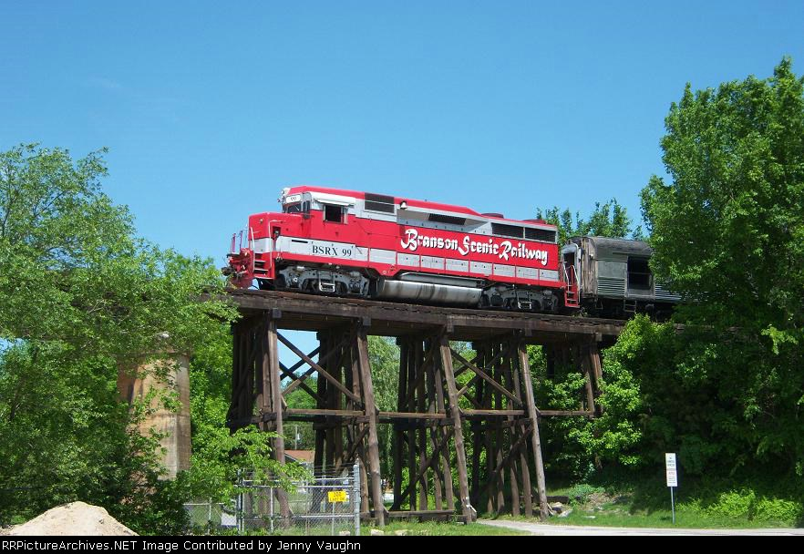 BSRX 99 going over a trestle