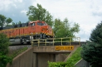BNSF 7395 crossing the bridge