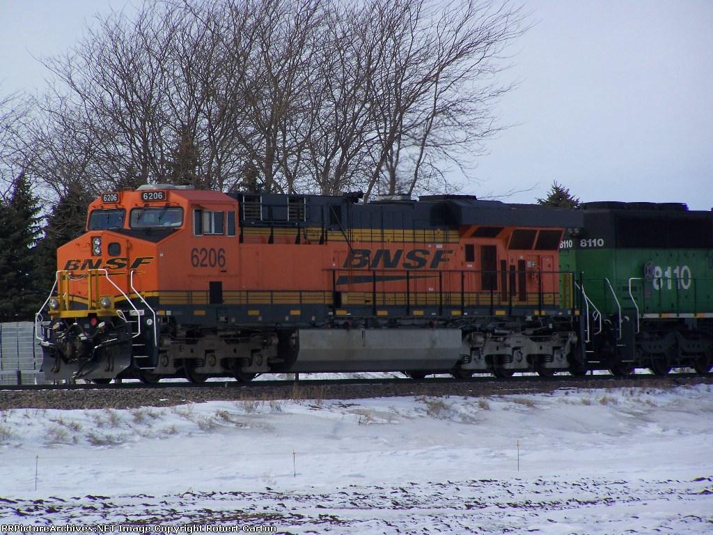 Close-up of BNSF 6206