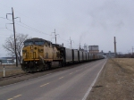 UP 6817 Backs Coal into Unloading Chutes at a Power Plant