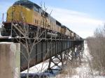 080413004 Northbound UP freight crosses BNSF ex-SOO Namadji River bridge