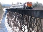 080413007 Northbound BNSF passenger special crosses BNSF ex-SOO Namadji River bridge