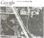 """080525011 Aerial photo of possible abandoned railroad right-of-way between Lincoln and Cushing, now used as """"Beaver Road"""""""