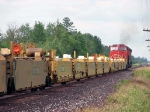 080730032 Northbound CN TOFC exits siding after meet with southbound ore loads