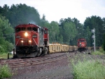 080730058 Northbound CN TOFC train diverges toward Shelton Junction