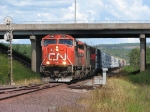 080801001 Southbound CN freight passes ex-DWP yard