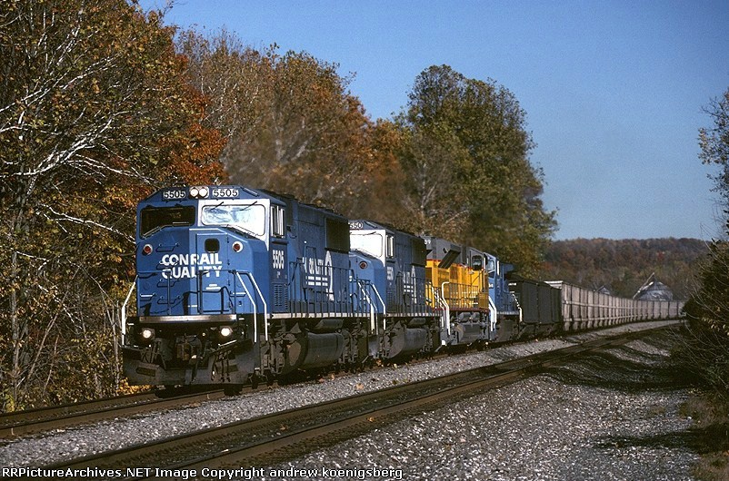 Conrail EMD SD-60M 5505 is toting an empty unit coal train westbound