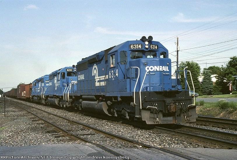 Conrail EMD SD-40 6314 blasts thru with ALSR (Allentown-Southern Railway)