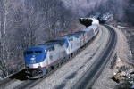 Amtrak P-42DC 129 wheels around the curve westbound
