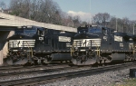 Two Norfolk Southern C-40-9Ws depart Conway yard westbound