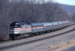 Amtrak EMD F-40PH 358 swings west along the Juniata River
