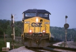 CSX AC4400CW 361 is westbound out of New Castle, PA. approaching the PA./Ohio border