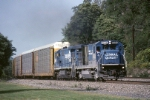 Conrail GE B-36-7 5036 with multi-levels eastbound for Conway yard