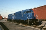 A pair of SD-40's are now employed by Conrail Leasing. They have received a new coat of blue and sit outside the shop to dry.