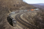 Penn-Central SD-45 6233 has a very 1970's looking mixed freight working west around the Horseshoe Curve