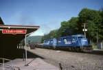 Conrail SD-40-2 6496 leads an ENPI (Enola-Pittsburgh) passed the station