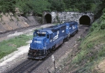 A Conrail helper set (SD-45-2 & SD-40-2) is about to enter the tunnel on their way back to Altoona and another shove