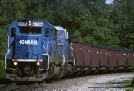 Conrail SD-50 6706 has eastbound coal loads