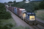 CSX SD-40-2 8092 tools along the Water Level Route with mixed tonnage