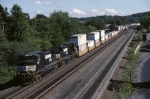 Norfolk Southern C-40-9W 9195 is rolling a stack train westbound