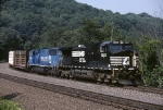 Norfolk Southern C-40-9W 9249 leads a mixed freight wrong main towards Conway yard