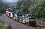 Norfolk Southern C-40-9W 9300 rounds the sweeping curve westbound