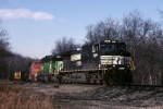 Norfolk Southern C-40-9W 9344 is in good company as it starts down the hill