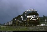 Norfolk Southern C-40-9W 9789 races east ahead of a nasty summer storm