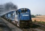 Conrail GE U-23-B 2707 is pulling hard as it leads a UFM (Unit Fairless Mill)