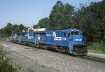 Conrail GE B-36-7 5008 and two GE B-40-8's head east to pick up a BAL-2W (Ballast train)