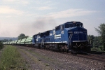 Conrail's ENPI (Enola-Pittsburgh) roars along the Middle Division behind a pair of GE C-40-8W's