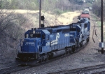 Conrail EMD SD-40-2 6359 brings ALCG (Allentown-Corning Gang Mills) thru CP Lehighton