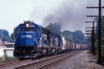 Conrail EMD SD-40-2 6436 and company open up as they get an ALSR (Allentown-Southern Railway) up to track speed