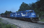  A pair of Conrail EMD SD-40-2's roll empty hoppers eastbound