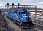 Conrail SD-40-2 6513 ducks under the signal bridge eastbound where Mifflin tower used to stand