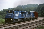The Norfolk Southern takeover is just days away, but Conrail GE C-30-7A 6597 is still hard at work chugging uphill with PITO (Pittsburgh-Toledo)