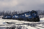 Three big Conrail  EMD SD-45-2's wait for helper assignments in the cold Pennsylvvania hills