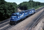 Ex-Erie-Lackawanna, now Conrail EMD SD-45-2's 6663 & 6661 slide by MO tower after cutting off from a westbound