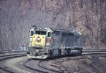 """A helper set of EMD's """"heavy hitters"""", (ex-E-L SD-45-2 and ex-P-C SD-45) are dropping downhill back to town for another assignment."""