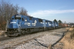 Conrail's ALPI (Allentown-Pittsburgh) has entered the single track Blandon Low Grade line behind EMD SD-50 6772