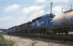 Getting ready to head east is a typical early Conrail lashup. Front to back: SD-45-2, SDP-45, SD-40, U-25-B, U-25-B, and a GP-35