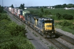 CSX GE C-40-8 7533 is cruising thru the countless grape farms with a double stack