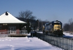 CSX EMD SD-40-2 8439 is passing the old P.&L.E. freight station on its way south to Connellsville on a crystal clear winter's day
