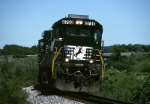 Norfolk southern GE C-40-9 8768 cants into a curve along the old Nickel Plate Road