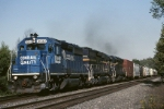 While trying to digest it's part of Conrail after the takeover, Norfolk Southern leased locomotives to cover power shortages. Here, Norfolk Southern EMD GP-40-2 3032 leads a pair of MPI leasers west with mixed freight