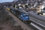 """Norfolk Southern GE """"Super 7"""" B-23-7R 4095 leads a westbound with an Alaska Railroad and 5 CSX SD-70s that were built at Juniata"""