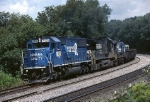 A welocome change from the usual GE C-40-9W is an ex-Conrail EMD SD-50 leading the charge with a westbound fresh out of Conway yard