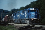 """The Norfolk Southern takeover is reality as a pair of unrenumbered ex-Conrail EMD SD-40-2's are being used in their familiar role as helpers ahead on the """"Mountain"""""""