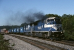About a month after the takeover, Norfolk Southern EMD SD-80MAC 7216 is on the point of hot eastbound intermodal. Next stop, famed Conway yard and a crew change.  